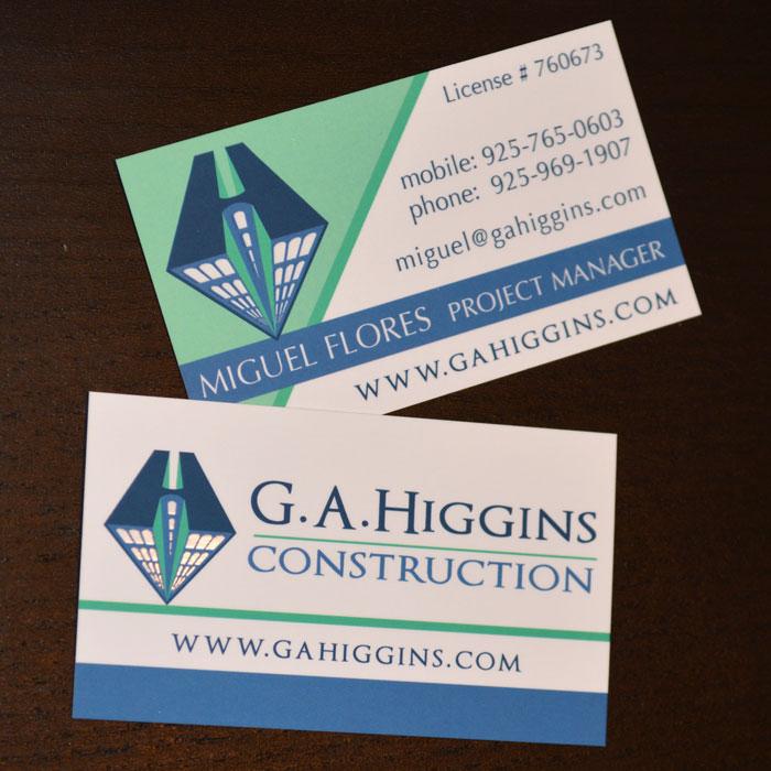 Construction company, Higgins Construction, 360 Web Designs, Annette Frei Graphics, business card ideas, great business cards