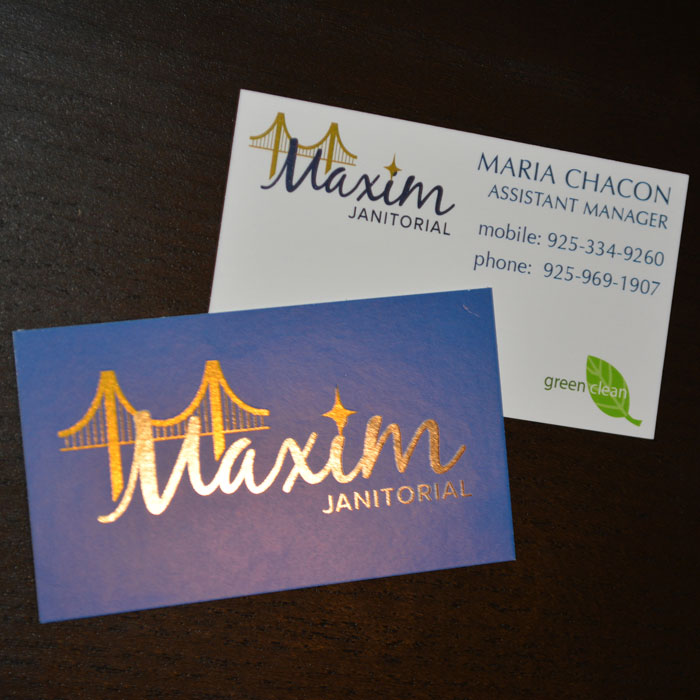 Business cards, Maxim Janitorial, Annette Frei Graphics, 360 Web Designs, Akuafoil, shiny business cards