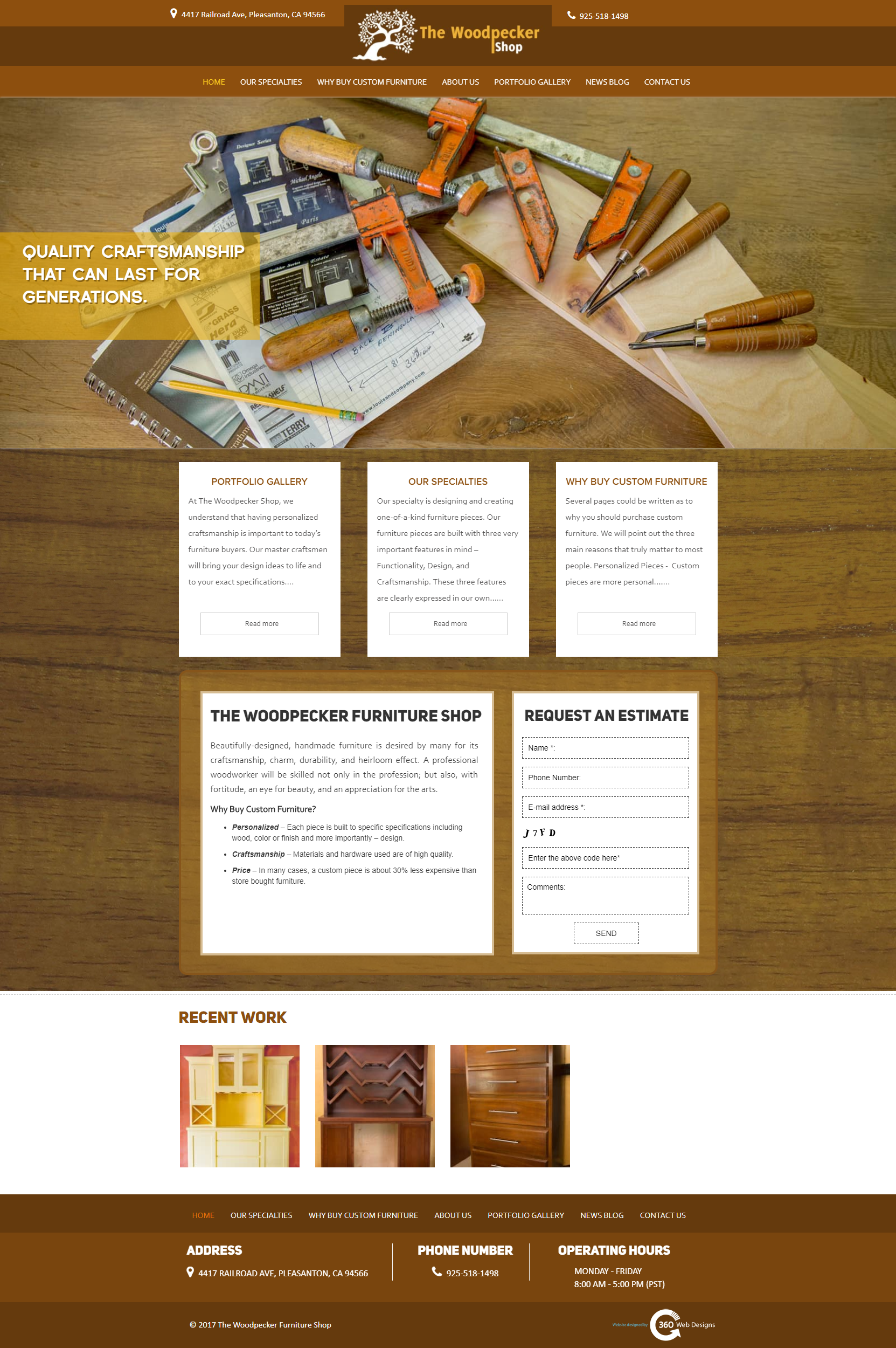 Portfolio | The Woodpecker Shop | Danville, CA |360 web designs